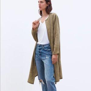 ZARA Linen Blend Frock Coat with Pockets